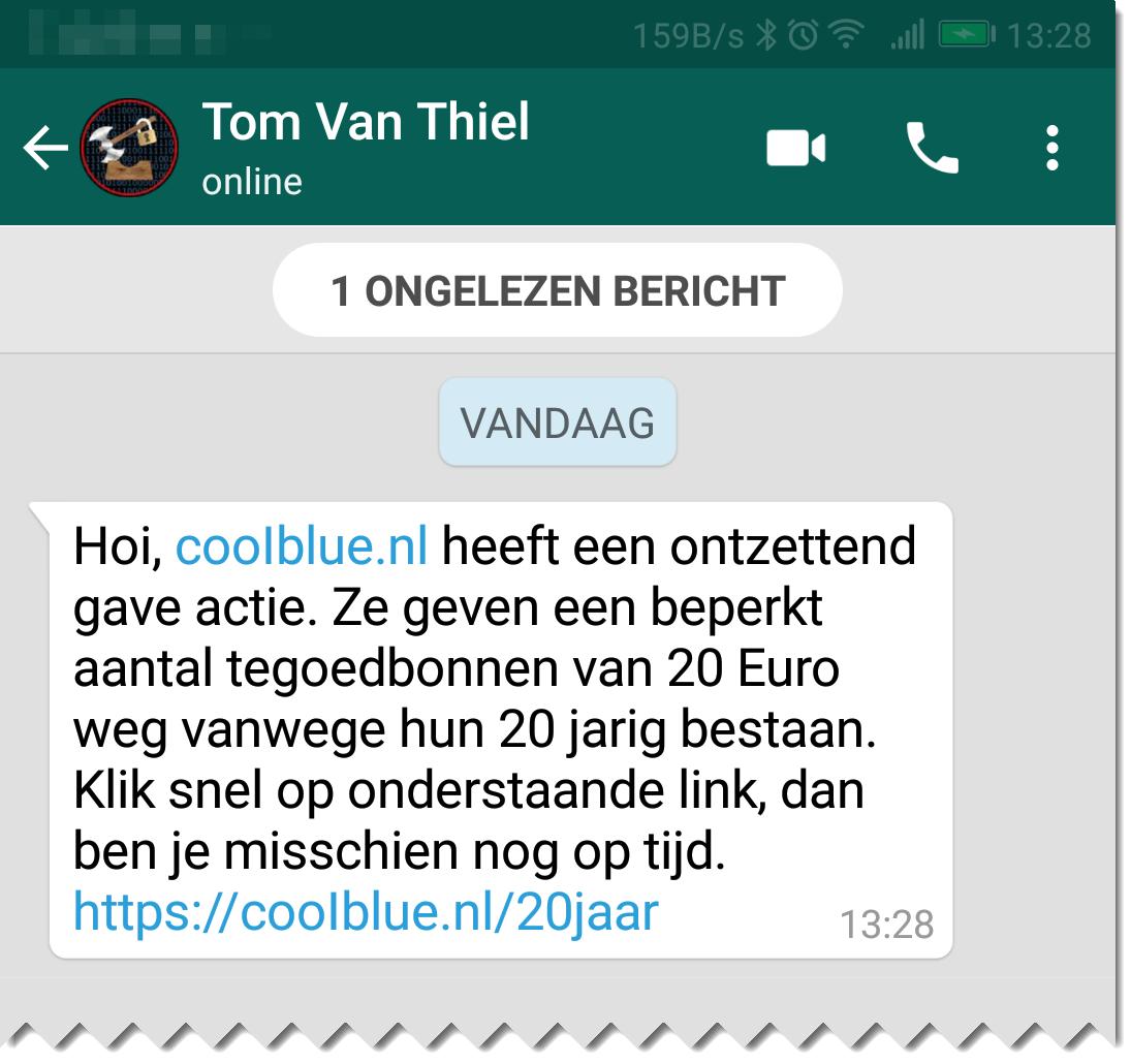 Whatsapp met frauduleuze link