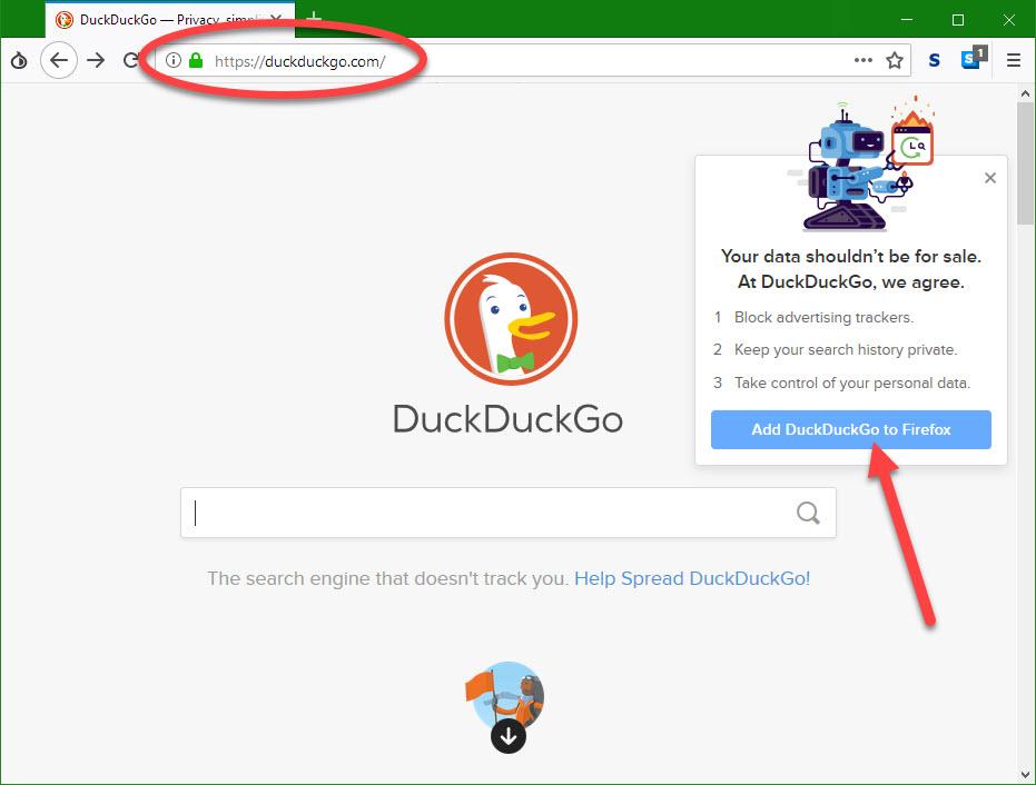 Gebruik DuckDuckGO als zoekmachine.